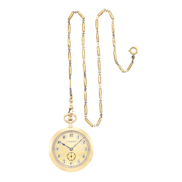 Gentleman's Gold Open Face Pocket Watch, Audemar Frères, Geneve, with Gold-Filled Chain