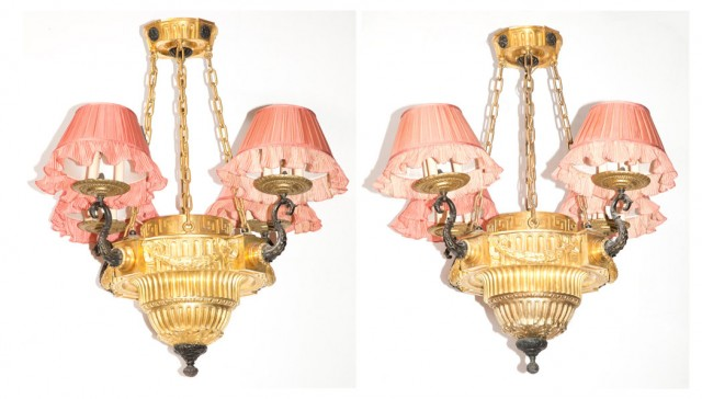Pair of Louis XVI Style Gilt and Patinated-Bronze Twelve-Light Chandeliers with Pink Silk Pleated Shades by Denning & Fourcade, Inc.