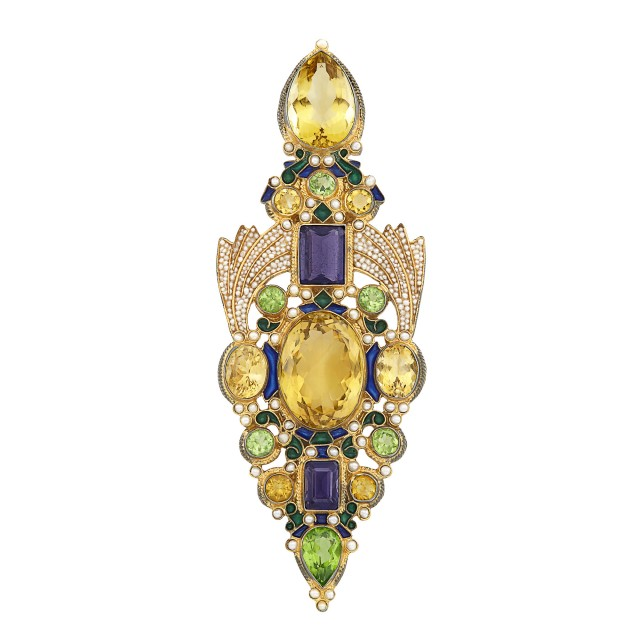 Silver-Gilt, Gem-Set, Split Pearl and Enamel Brooch, Percossi Papi