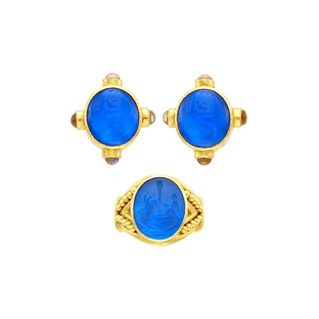 Elizabeth Locke Pair of Hammered Gold and Venetian Blue Glass Intaglio, Mother-of-Pearl and Moonstone Earclips and Ring