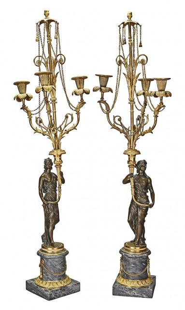 Pair of Neoclassical Style Gilt and Patinated-Bronze and Marble Figural Three-Light Candelabra
