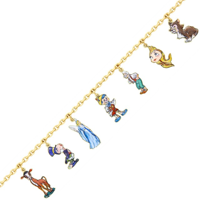 Cartier, Disney Gold and Enamel 'Pinocchio' Charm Bracelet