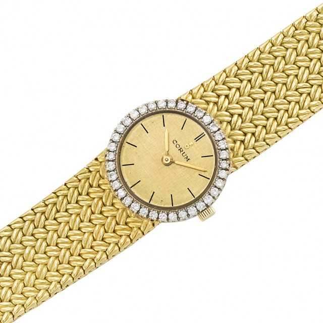 Two-Color Gold and Diamond Mesh Wristwatch, Corum