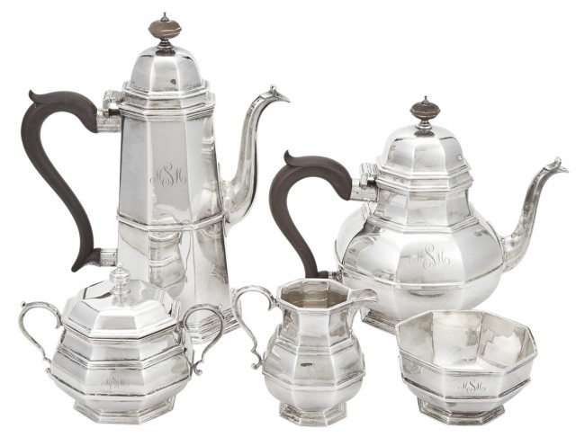 Tiffany & Co. Sterling Silver and Wood Five-Piece Coffee and Tea Service