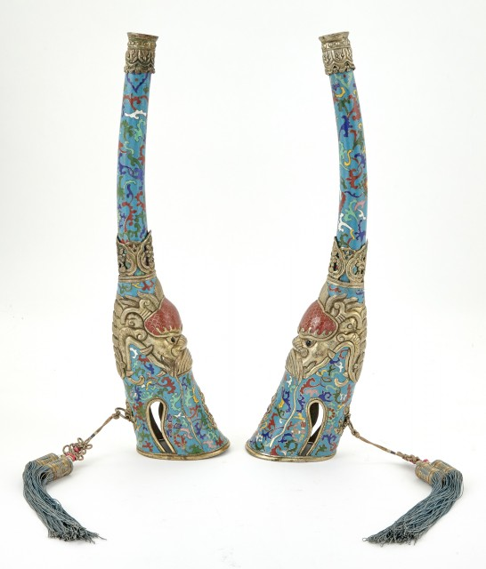 A Pair of Tibeto-Chinese Cloisonné Enamel Telescoping Trumpets
