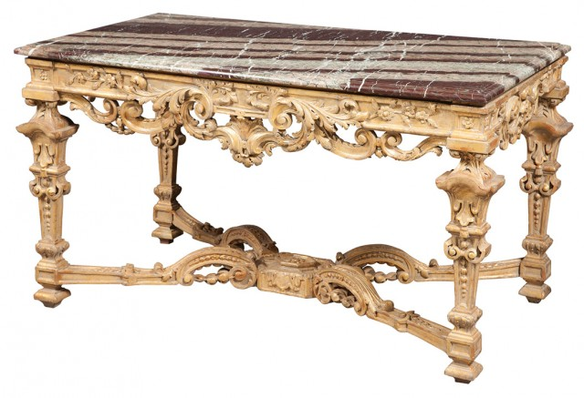 Louis XIV Style Marble Top Giltwood Center Table