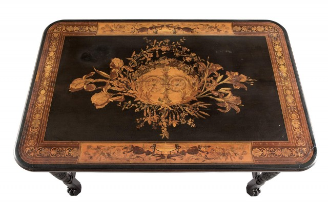 Herter Brothers Aesthetic Movement Rosewood, Marquetry and Parcel-Gilt Inlaid Center Table