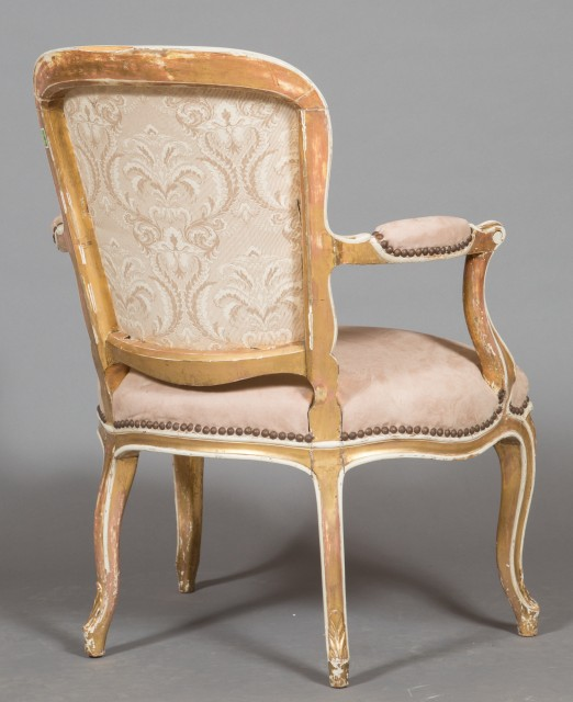 Pair of George III Painted and Parcel Gilt Armchairs