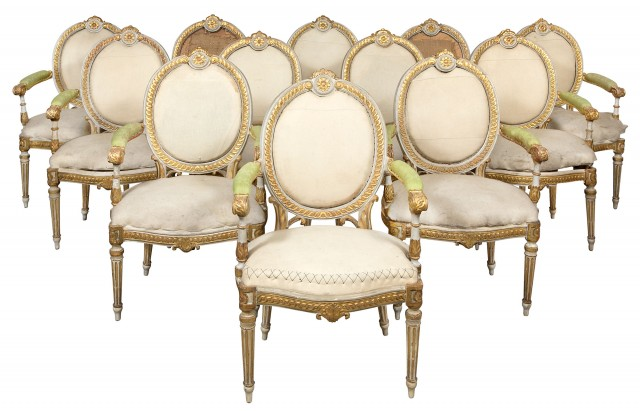 Set of Twelve Italian Neoclassical Painted and Parcel-Gilt Armchairs