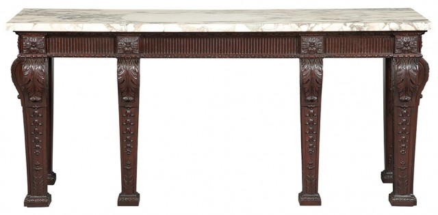 George III Style Marble Top Mahogany Side Table