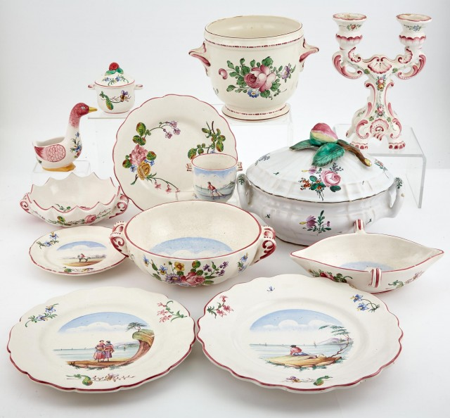 French Polychrome Decorated Ceramic Dinner Service