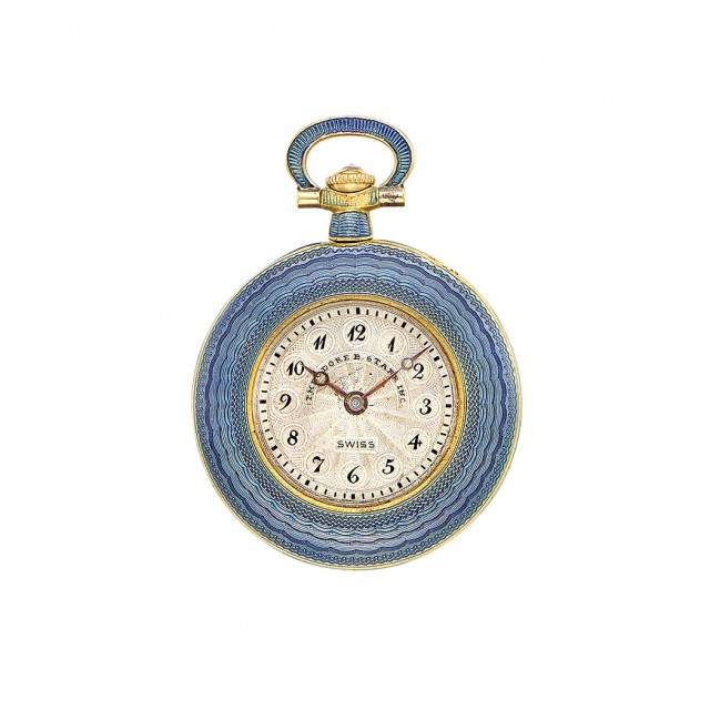 Belle Époque Platinum, Gold, Blue Guilloché Enamel and Diamond...