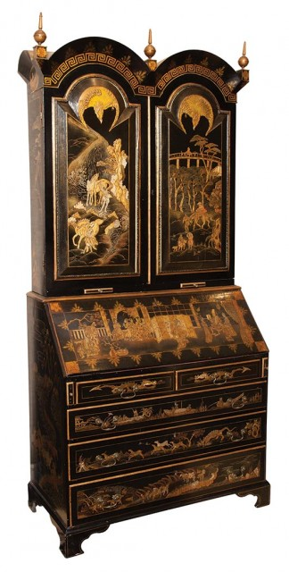 Queen Anne Style Chinoiserie Decorated Secretary Bookcase