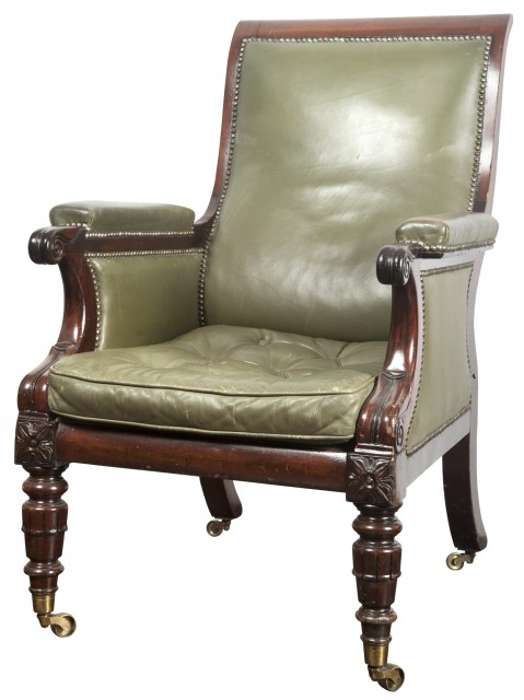 William IV Mahogany and Green Leather-Upholstered Bergère