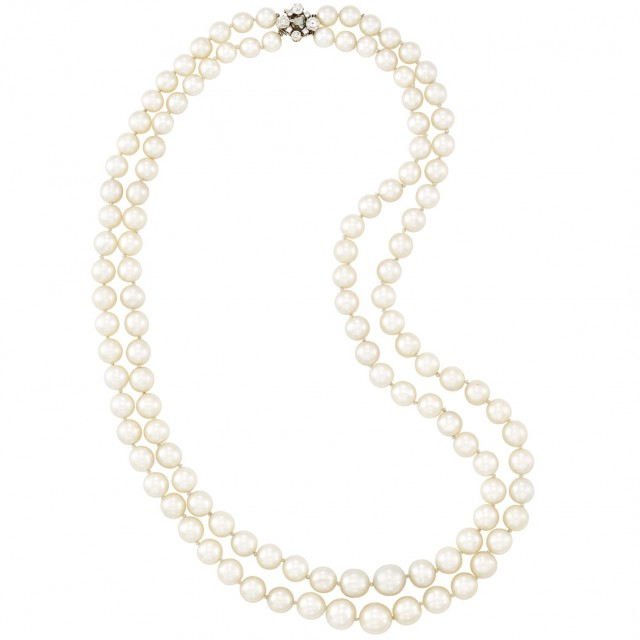 Double Strand Cultured Pearl Necklace with Gold and Diamond Clasp