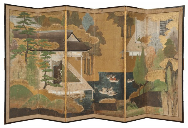 Japanese Polychrome-Painted and Gilt-Decorated Paper and Silk-Edged Six-Panel Screen