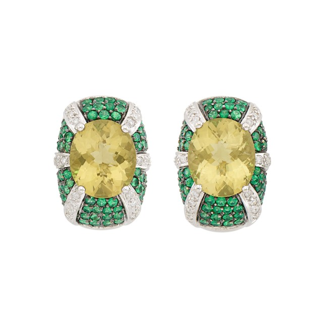 Pair of White Gold, Lemon Quartz, Green Garnet and Diamond Earrings