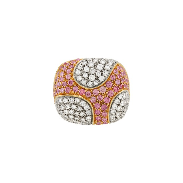 Two-Color Gold, Diamond and Pink Diamond Ring