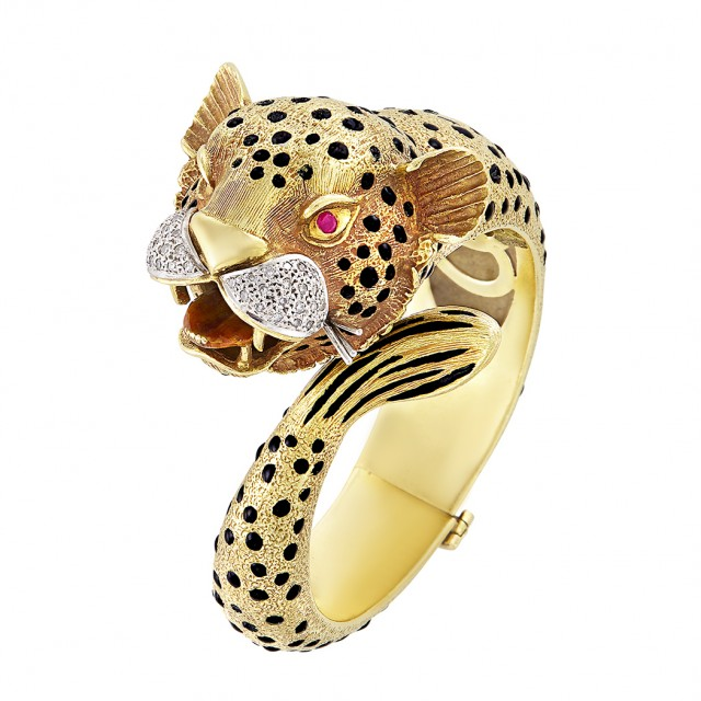 Gold, Black Enamel, Diamond and Ruby Leopard Bangle Bracelet