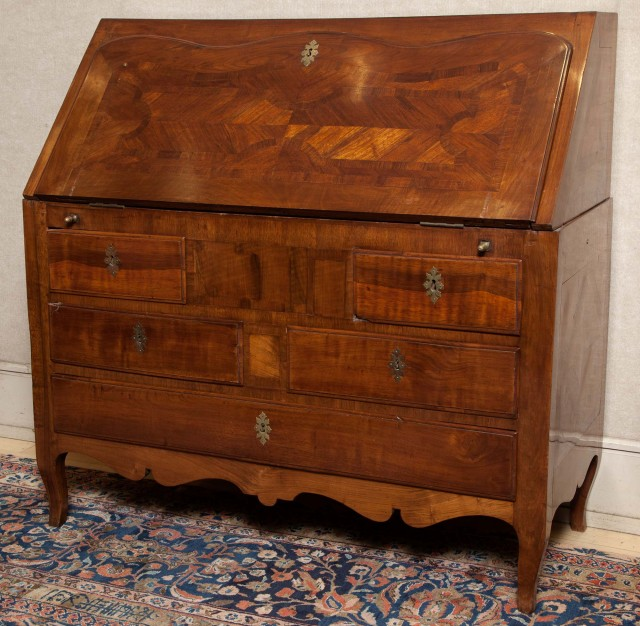 Continental Walnut Parquetry Slant Front Desk