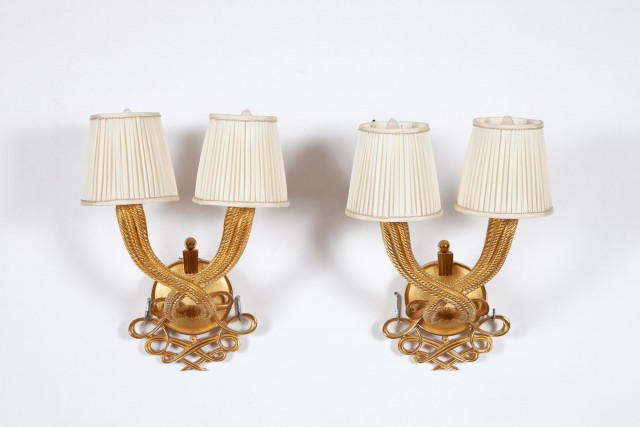 Pair of Jules and Andre Leleu Gilt-Bronze Double Torsade