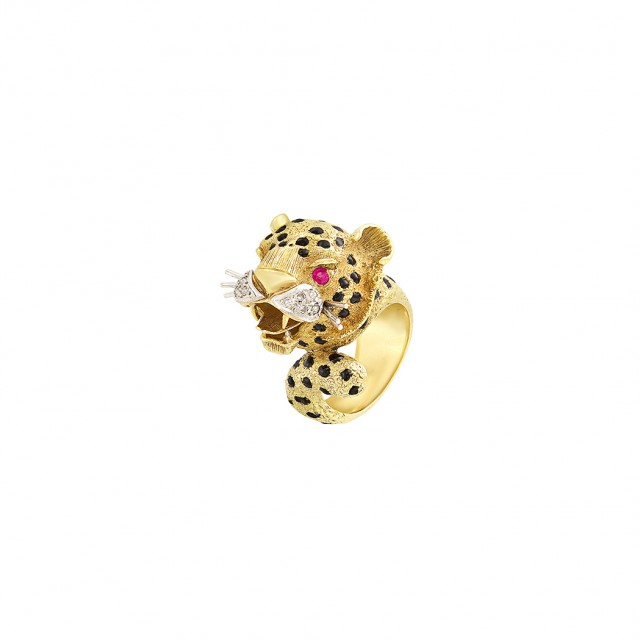 Gold, Black Enamel, Ruby and Diamond Leopard Ring