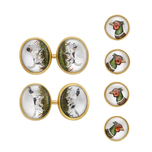 Four Gold and Reverse Crystal Intaglio Studs, Asprey, and Pair of Gold and Reverse Crystal Intaglio Cufflinks