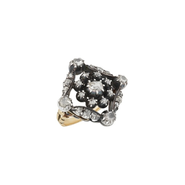 Antique Silver, Gold and Diamond Ring