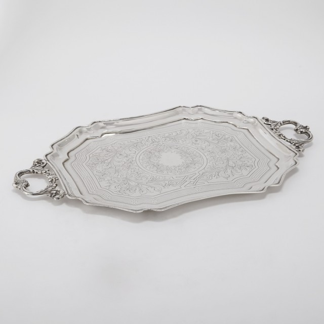 Russian Silver Two-Handled Drinkand#39;s Tray
