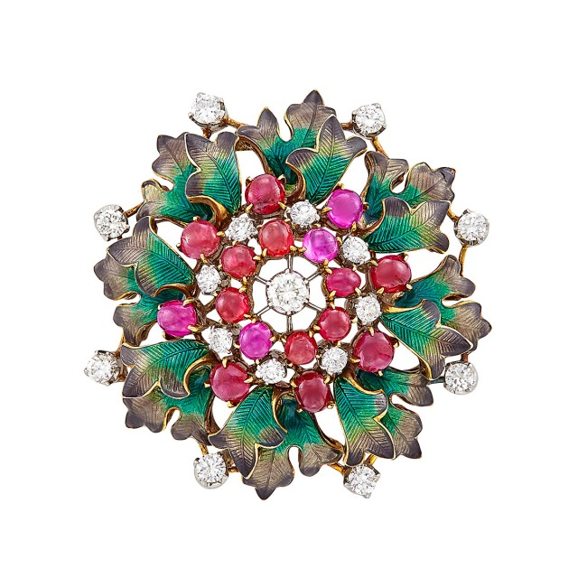 Gold, Platinum, Diamond, Cabochon Ruby and Enamel Clip-Brooch