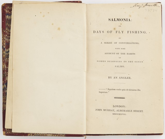 [DAVY, SIR HUMPHREY]  Salmonia: Or, Days of Fly Fishing in a Series of Conversations  with Some Account of the Habits of Fishes Belonging to the Genus Salmo.