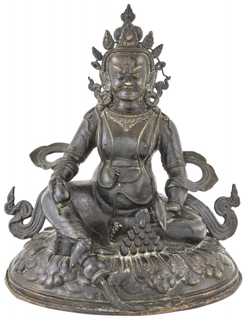 A Large Tibetan Seated Bronze Figure of Jambhala