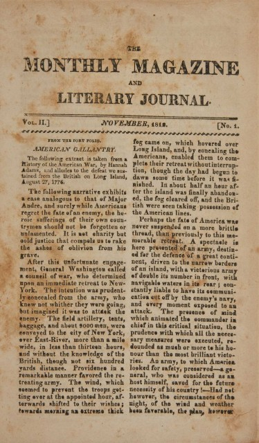 [EARLY VIRGINIA IMPRINT]  The Monthly Magazine and Literary Journal.