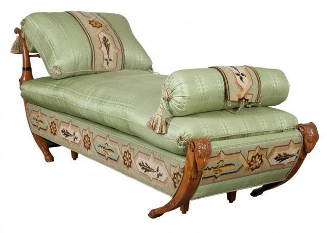 Neoclassical Style Silk Upholstered Walnut Chaise Longue