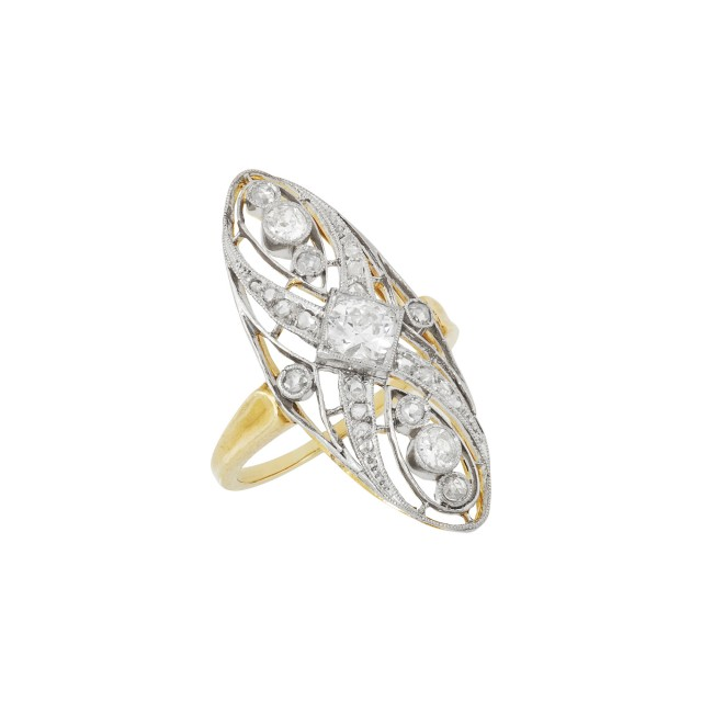 Edwardian Platinum-Topped Gold and Diamond Ring