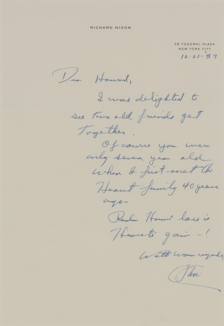 NIXON, RICHARD  Six signed notes to Howard Kaminsky.