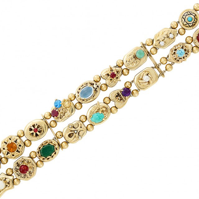 Two Row Gold and Colored Stone Slide Bracelet