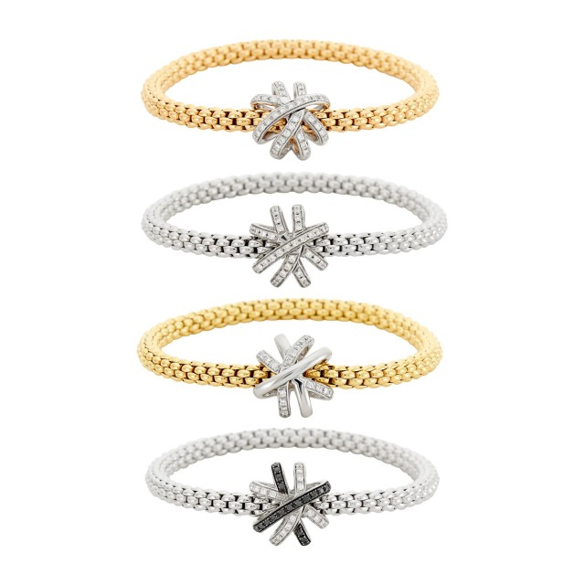 Fope Four Yellow, White and Rose Gold, Diamond and Black Diamond 'Flex'It' Bracelets
