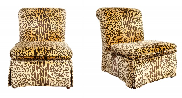 Pair of Rubelli Leopard Velvet-Upholstered Slipper Chairs