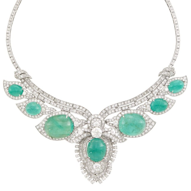 Platinum, Cabochon Emerald and Diamond Pendant Clip-Brooch Necklace