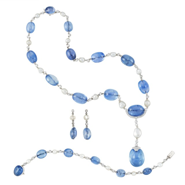Art Deco Platinum, Sapphire Bead, Diamond and Pearl Pendant Necklace, Bracelet and Pair of Pendant Earrings