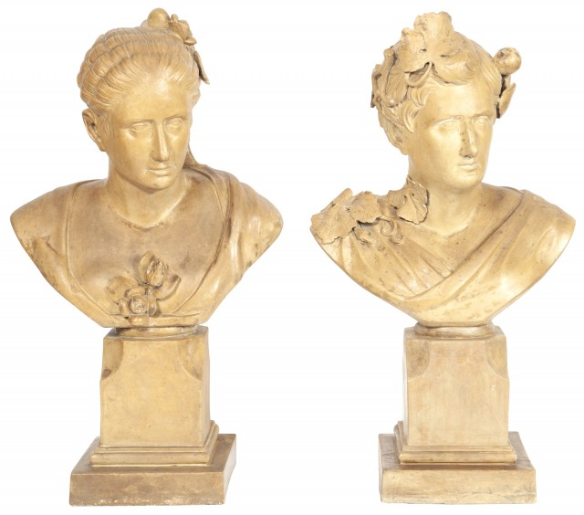 Pair of Continental Plaster Busts