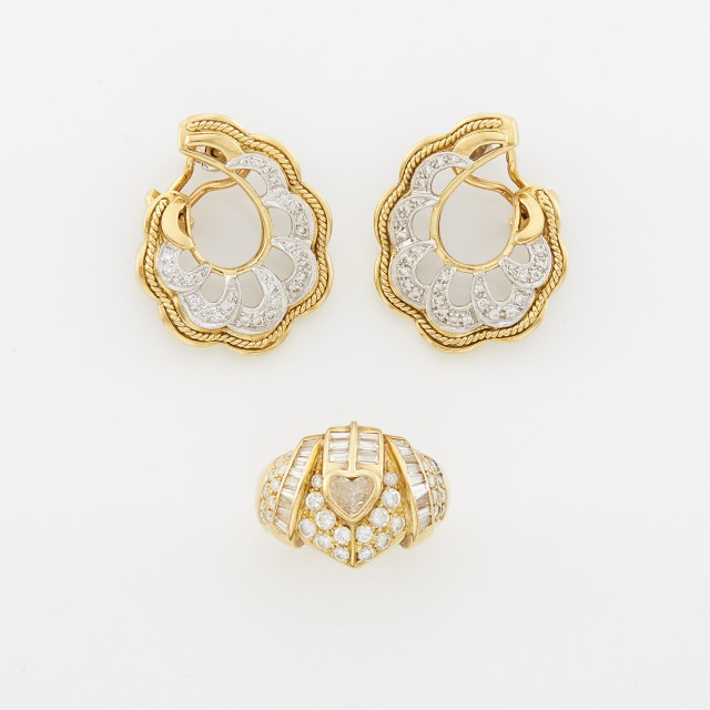 Pair of Two-Color Gold and Diamond Earclips and Gold and Diamond Ring