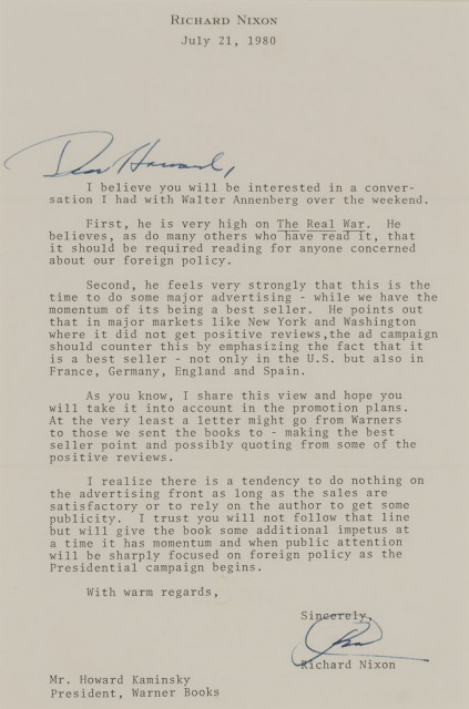 NIXON, RICHARD  Signed copy of The Real War with a related signed letter.