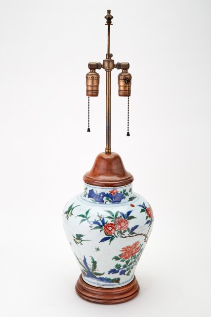 Chinese Famille Verte Porcelain Vase as Lamp