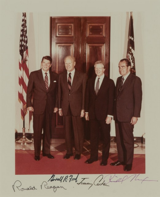 [PRESIDENTS]  Photograph signed by Ronald Reagan, Gerald Ford, Jimmy Carter, and Richard Nixon.