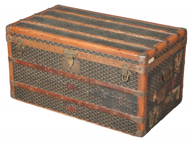 French Canvas-Covered Steamer Trunk by Malles Goyard