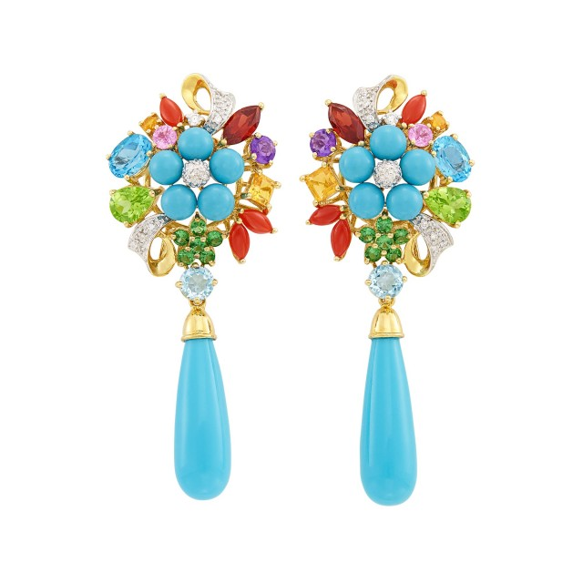 Pair of Gold, Turquoise, Gem-Set and Diamond Pendant-Earrings