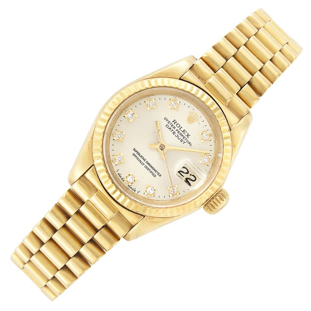 Lady's Gold and Diamond 'Oyster Perpetual DateJust' Wristwatch, Rolex, Ref. 6900