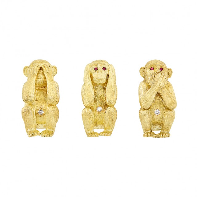 Three Gold, Ruby and Diamond and#39;See No Evil, Hear No Evil, Speak No Eviland#39; Monkey Pins